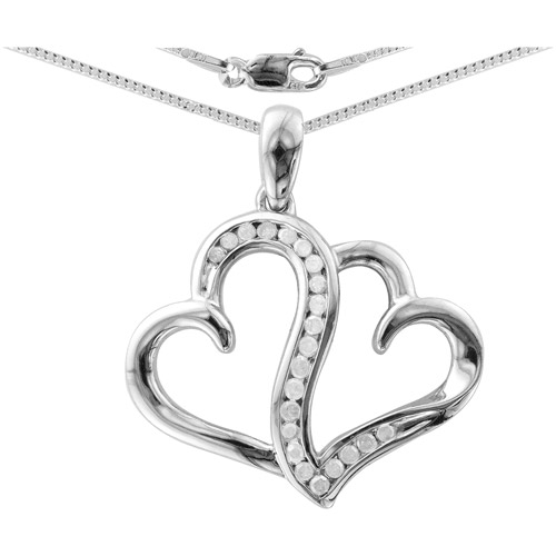Heart 2 Heart 1/5 Carat Diamond T.W. Sterling Silver White Diamond Pendant with Chain
