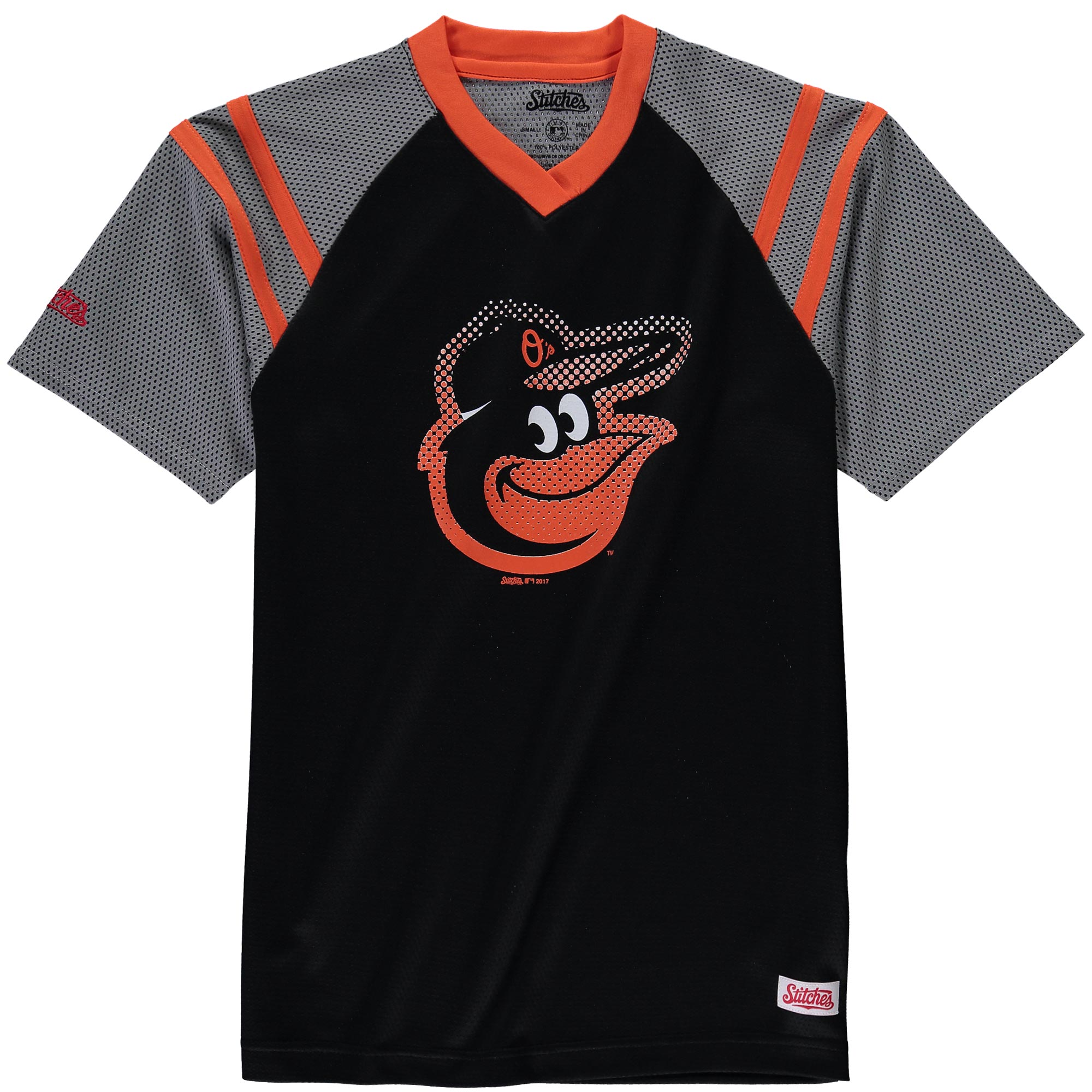 Baltimore Orioles Stitches Youth Mesh V-Neck Jersey T-Shirt - Black/Orange