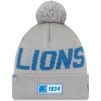 Detroit Lions New Era 2019 NFL Sideline Road Reverse Sport Knit Hat - Silver - OSFA