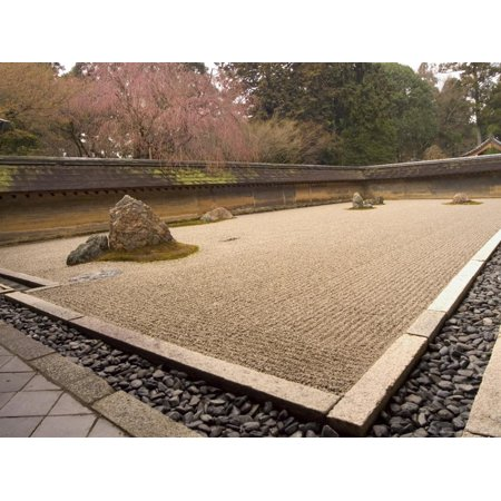 Ryoanji Temple, Dry Stone Garden and Blossom, Kyoto City, Honshu Island, Japan Print Wall Art By Christian Kober (Ryoanji Temple)