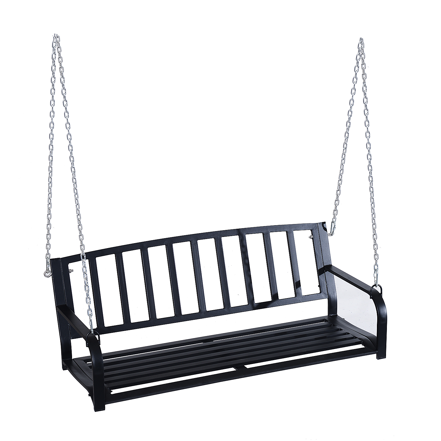 Outsunny Porch Swing 2 Person Outdoor Porch Swing Bench Black by Aosom