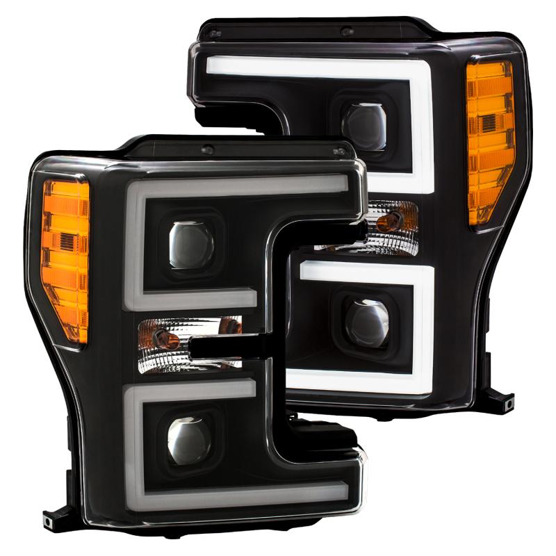 ANZO LED Headlights 17-18 Ford F-250 Super Duty Plank-Style L.E.D. Headlight Black (Pair)