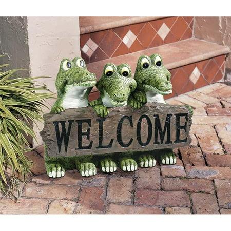 Design Toscano Louisiana Hospitality Crocodile Alligator Welcome Garden Statue Sculpture - H...
