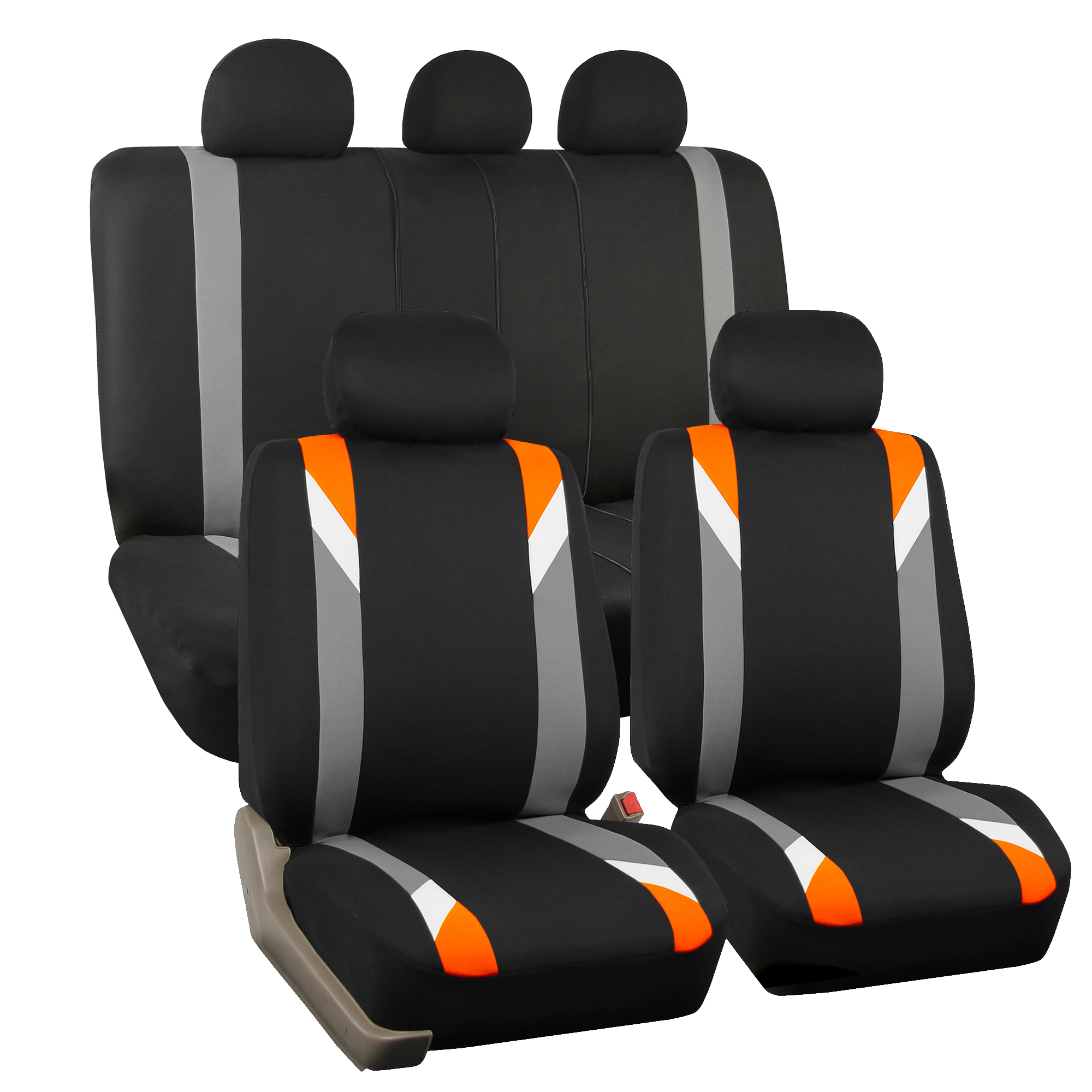 FH Group Airbag Compatible Modernistic Flat Cloth Full Set Seat Covers, Orange