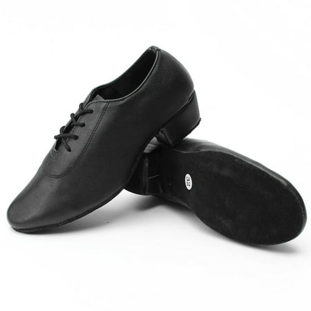 Men Leather Mid Heel Kid Boy Latin Tango Salsa Waltz Ballroom Dance Shoes (Salsa Shoes Men)
