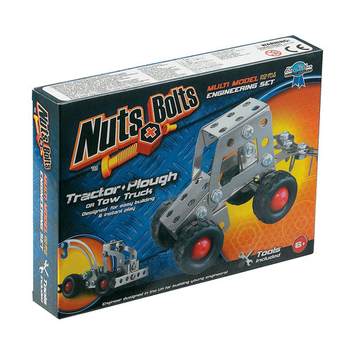 Nuts+Bolts Multi Model Engineering Set, Tractor and Plough or Tow Truck