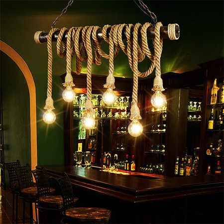 Ceiling Hanging Decorations (1M Single Head Hemp Rope Pendant Chandelier Lighting, Industrial Vintage Edison LED Antique Pendant Lamp Hanging Light Ceiling Fixture, E27 DIY Home)