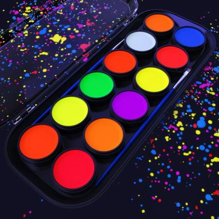 Arteza UV Face & Body Paint (12 Colors) - Glow In The Dark Body