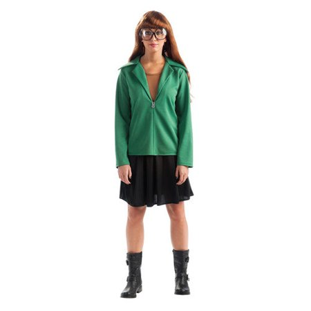 Daria Cartoon MTV Classic Cult TV Original Ironic Hipster Girl Suburban Angst Costume Green Hoodie Black Skirt w/ Wig & Big Glasses Womens Small Dress Size (6-10)