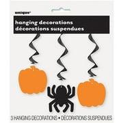 Pumpkin & Spider Halloween Hanging Decorations, 26in, 3ct