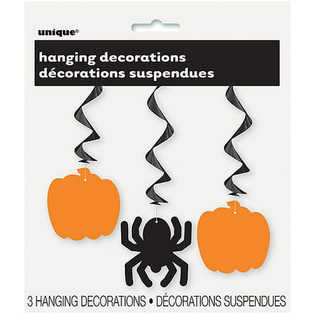 Pumpkin & Spider Halloween Hanging Decorations, 26 in, 3ct - Small Black Spider
