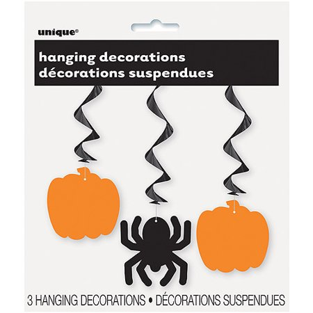 Pumpkin & Spider Halloween Hanging Decorations, 26 in, 3ct