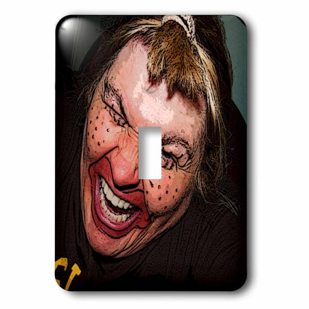 3dRose Lady Dressed Up Like Ugly Clown for Halloween With Her Face Very Animated, Silly and Scary - Single Toggle Switch