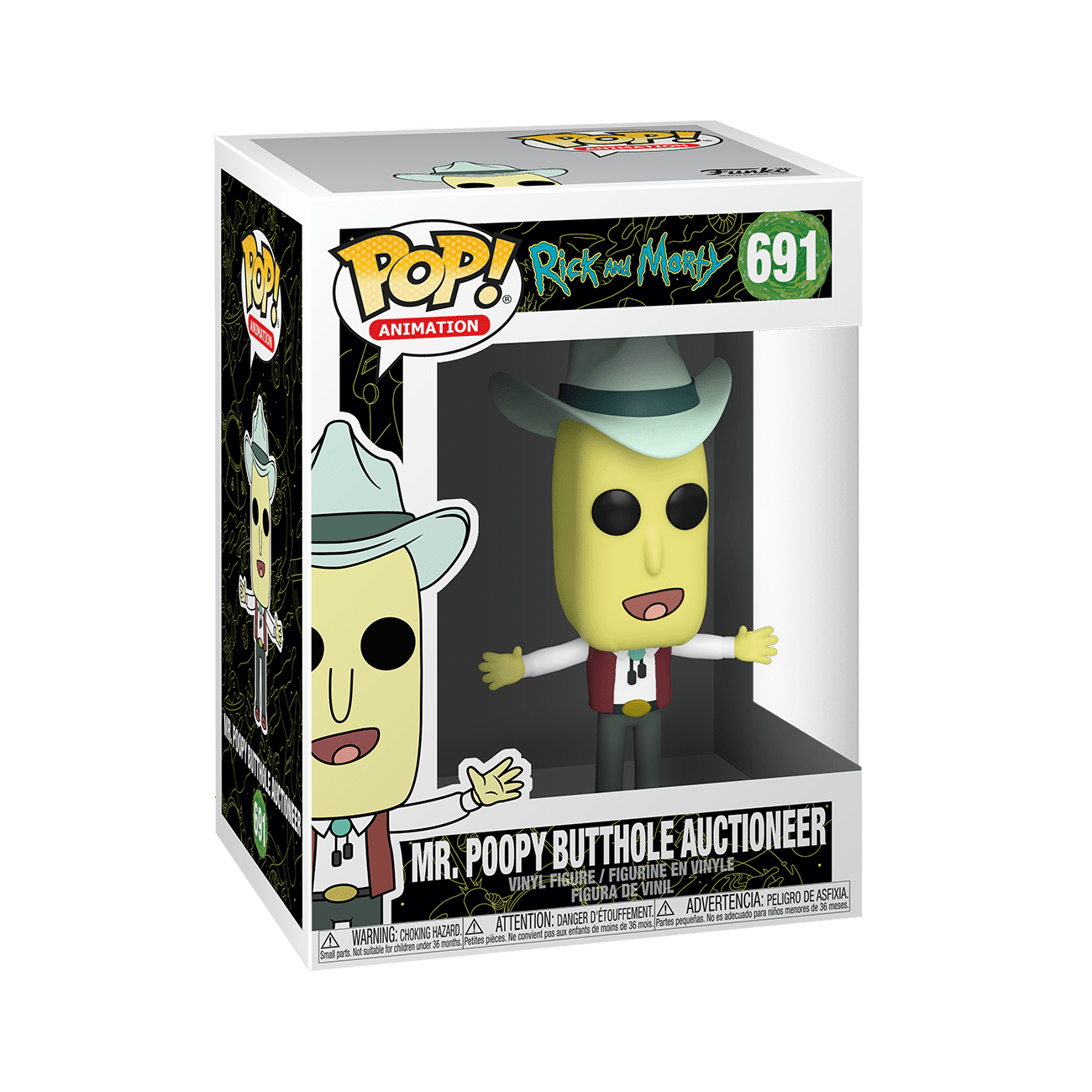 POOPY BUTTHOLE AUCTIONEER 691 45439 NEW ANIMATION: RICK /& MORTY FUNKO POP MR