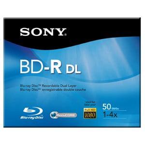 Sony BNR50R2H Blu-ray Recordable Media - BD-R DL - 4x - 50 GB - 120mm - 46 Hour Maximum Recording Time