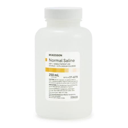 McKesson Irrigation Solution Sodium Chloride, 0.9% Solution Bottle, Screw Top, 250 mL Bottle, Case of 24