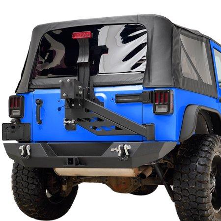 Cobalt Rear Bumper (EAG Rear Bumper with Tire Carrier Linkage in Steel Black Textured - fits 07-18 Jeep Wrangler JK)