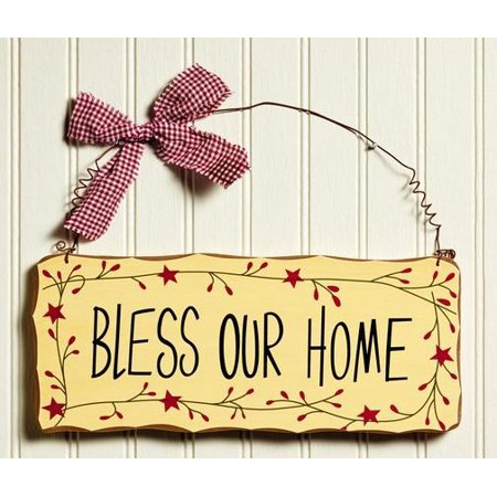 Primitive Country Bless Our Home Pip & Star Border Sign Wall and Door