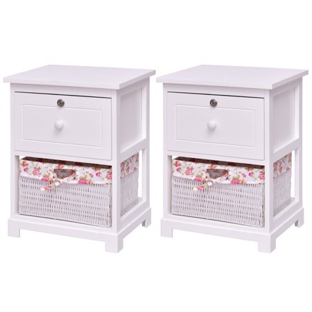 Costway 2PCS 2 Tiers Nightstand Bedside End Table1 Drawer 1 Basket White Contemporary Two Tier