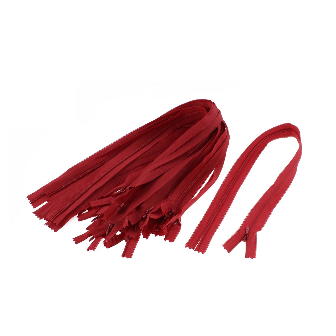 Unique Bargains Dress Pants Closed End Nylon Zippers Tailor Sewing Craft Tool Red 50cm 20 Pcs