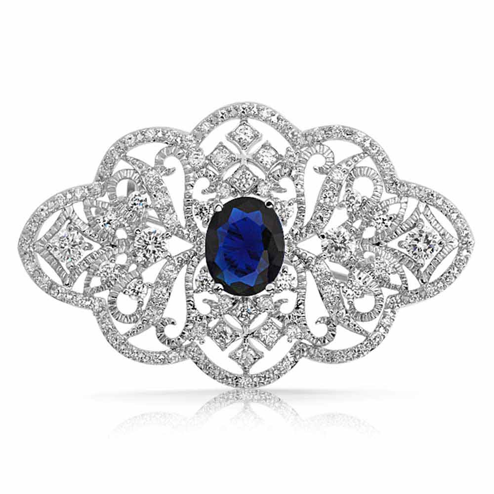 Oval Simulated Sapphire Cubic Zirconia Style Flower Pin Rhodium Plated by Bling Jewelry