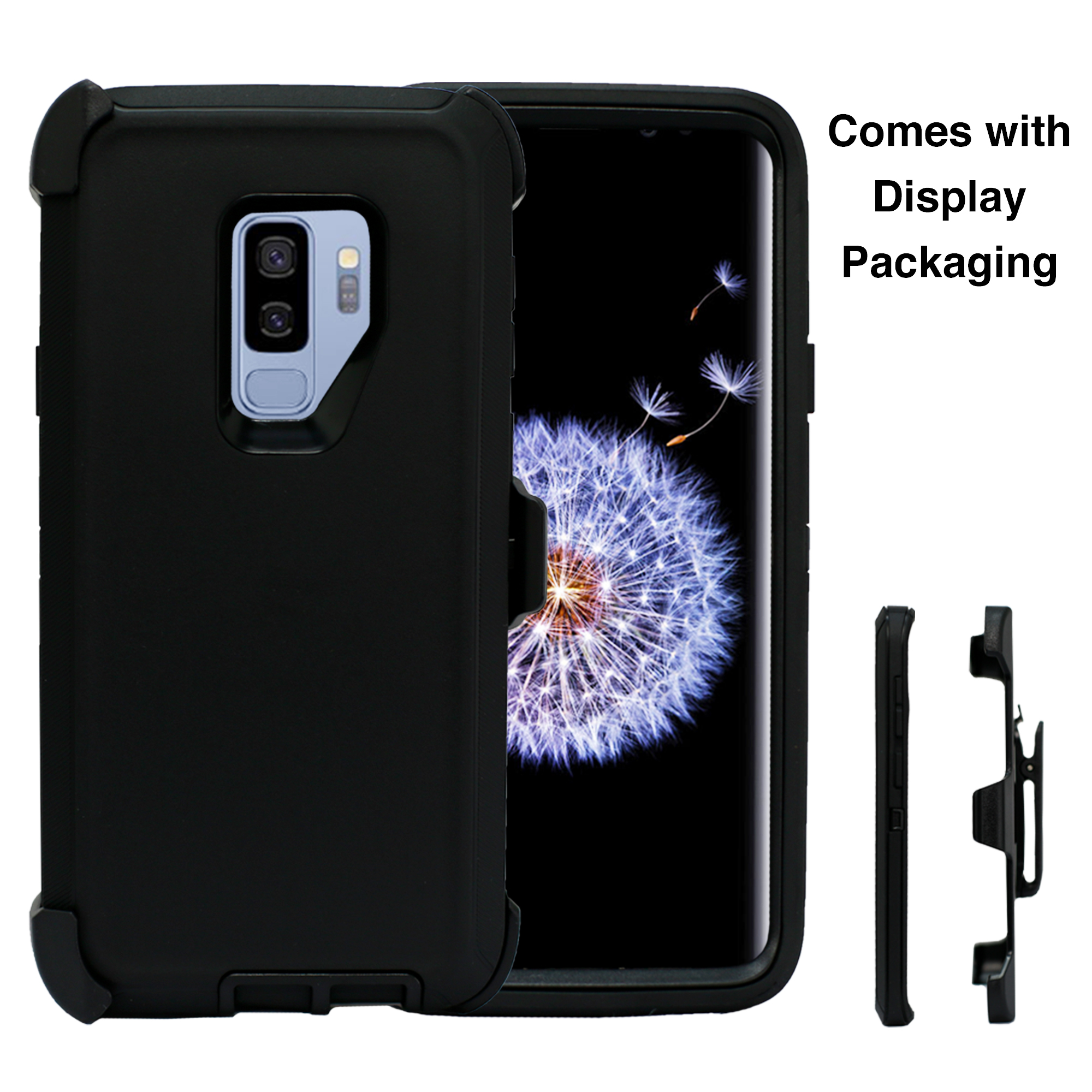 Heavy Duty Shock Reduction Case with Belt Clip (No Screen) for Galaxy S9 Plus (Black)
