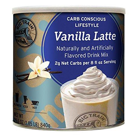 Big Train Carb Conscious Blended Ice Coffee, Vanilla Latte, 1.85 Pound, Low Carb Powdered Instant Coffee Drink Mix, Serve Hot or Cold, Makes Blended Frappe