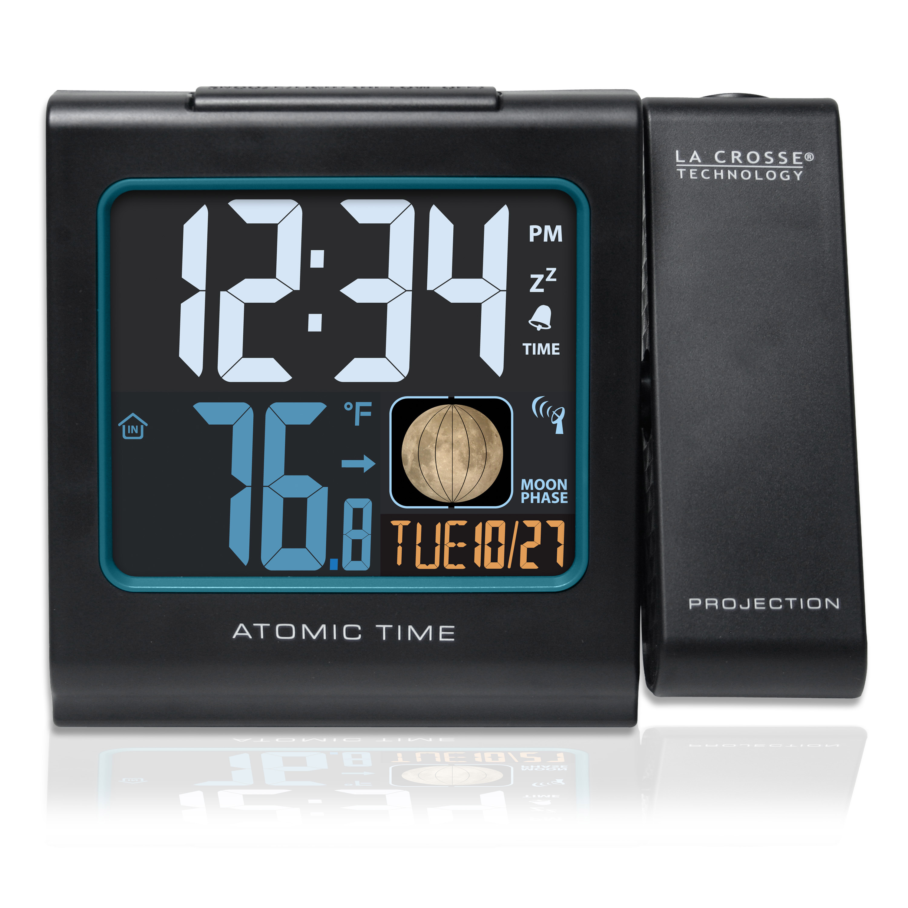 "La Crosse Technology 616-146A 5"" Color LCD Projection Alarm Clock with Moon Phase, Black"