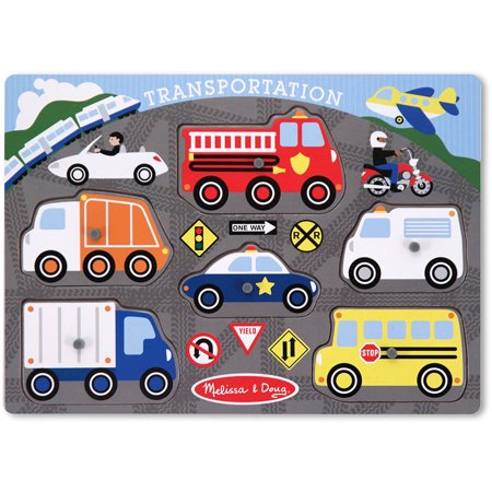 Melissa & Doug Transportation Vehicles Wooden Peg Puzzle (6 pcs)