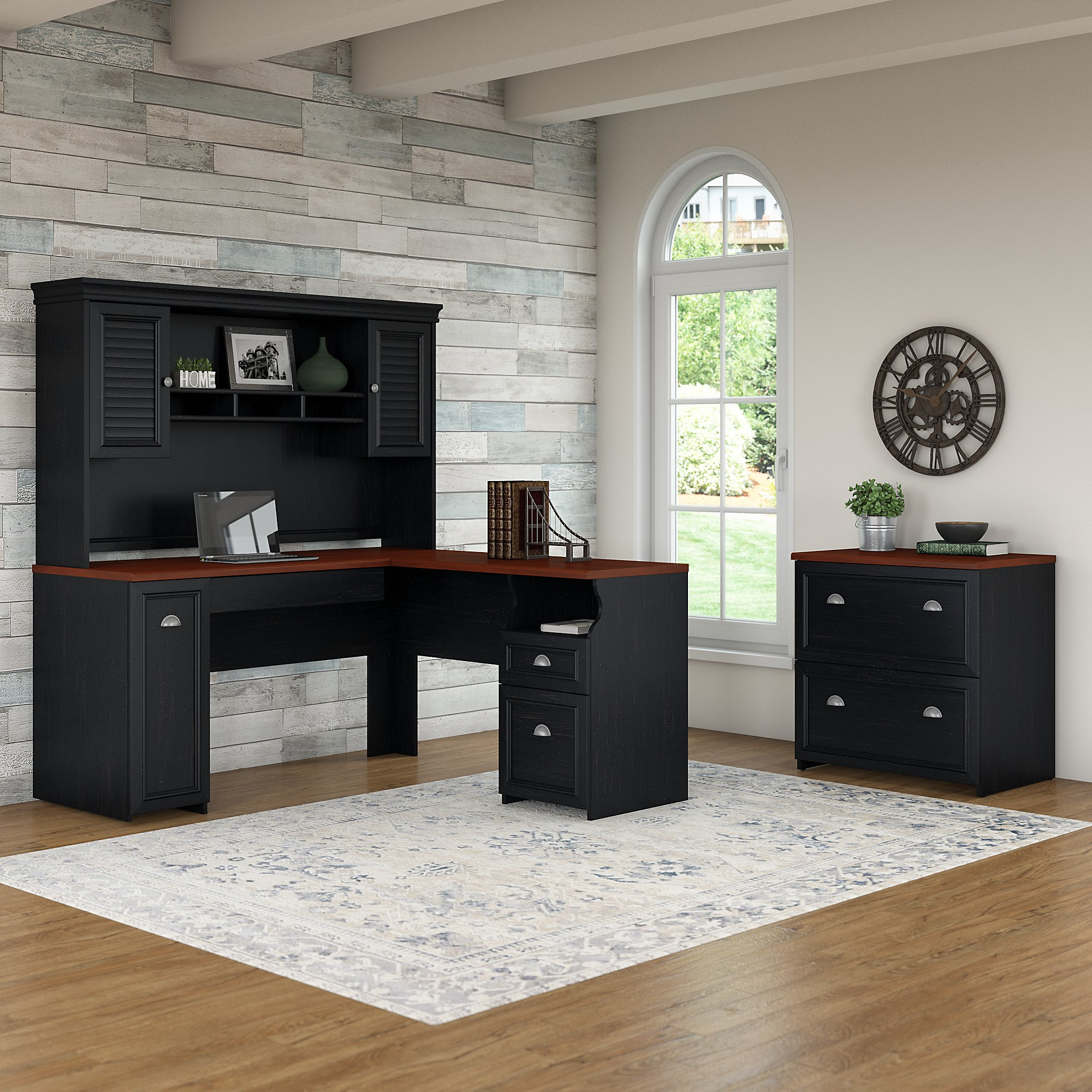 Bookcase And Lateral File Cabinet In Antique Black Furniture