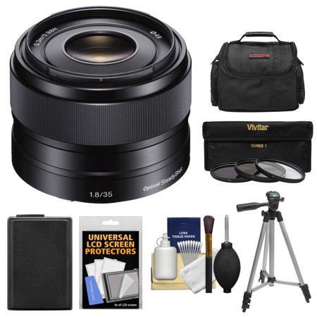 Sony Alpha E-Mount 35mm f/1.8 OSS Lens with Battery + Case + 3 Filters + Tripod Kit for A7, A7R, A7S Mark II, A5100, A6000, A6300