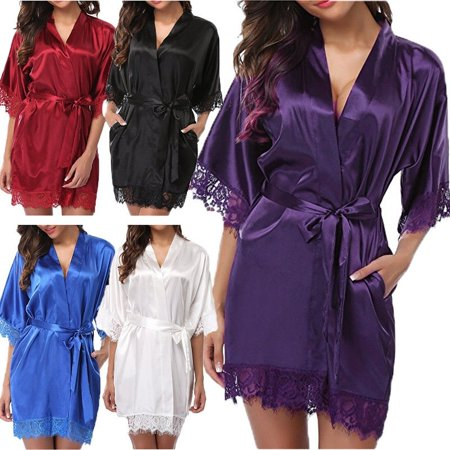 Kimono Dressing Gowns - Women Summer Sexy Nightdress Satin Lace Kimono Sleepwear Lingerie Dress Gown Robe