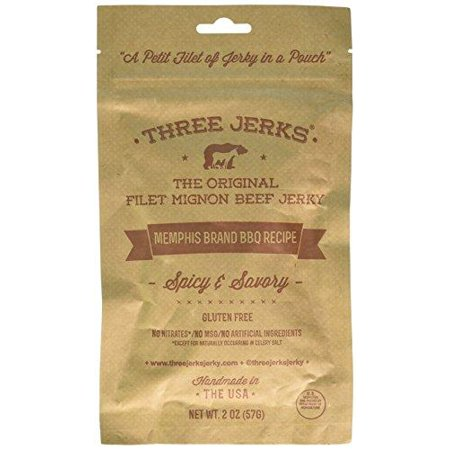 Three Jerks Filet Mignon Beef Jerky - Premium Natural Gourmet Memphis BBQ (Memphis BBQ, 1 Package)