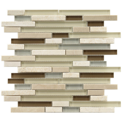 EliteTile Sierra 11-3/4'' x 11-3/4'' Polished Glass and Stone Piano Mosaic in York