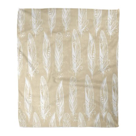 White Feather Cotton Featherbed (KDAGR Throw Blanket Warm Cozy Print Flannel Beige Bohemian White Feathers Pattern Bird Comfortable Soft for Bed Sofa and Couch 58x80 Inches )