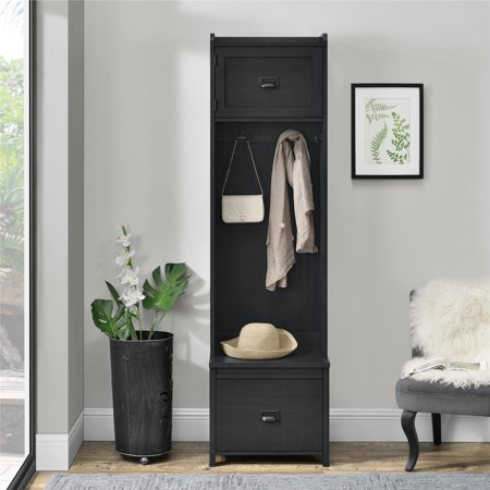 SystemBuild Farmington Entryway Hall Tree with Storage Bench, Multiple Colors Available Back Hall Tree Benches