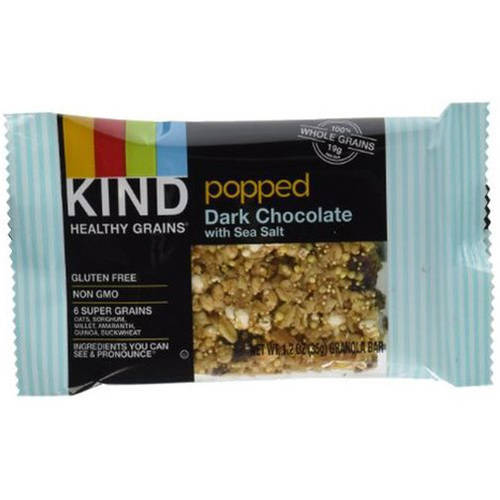Kind Popped Dark Chocolate with Sea Salt Granola Bar, 1.2 oz, 5 pack, (Pack of 6)