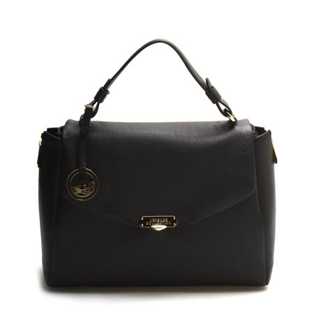 Versace Collection Women Leather Satchel Handbag Vitello Stampa Alce Black