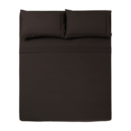4 PC QUEEN SHEET SET MICROFIBER SOLID CHOCOLATE -SERIES