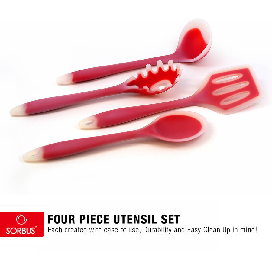 4-piece Kitchen Cooking Utensil Gadget Set, Made of One-Piece Silicone, Includes: Ladle, Slotted Turner, Spoon, Pasta Fork