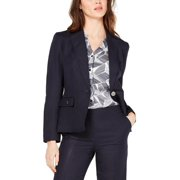 Nine West Womens Linen Notched Collar One-Button Blazer Navy L