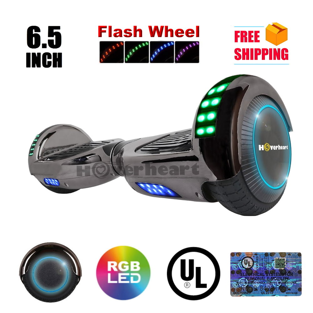"UL2272 Certified LED Flash Wheel 6.5"" Hoverboard Two Wheel Self Balancing Scooter  New Chrom Black"