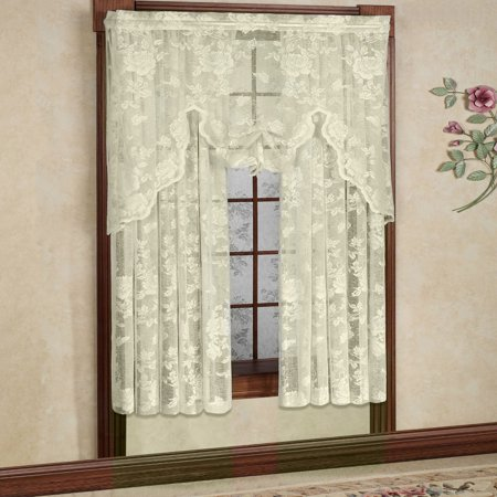 - Abbey Rose Floral Pattern High Gauge Lace Curtain Single Panel 50