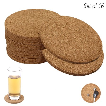 16 Set Natural Cork Coasters Absorbent Drink Coffee Cup Mat Table Bar DIY Crafts