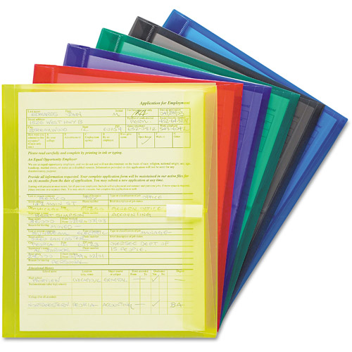 "Smead Envelopes w/1-1/2"" Expansion, Letter, Poly, Blue/Green/Purple/Red/Smoke/Yellow, 6/Pk"