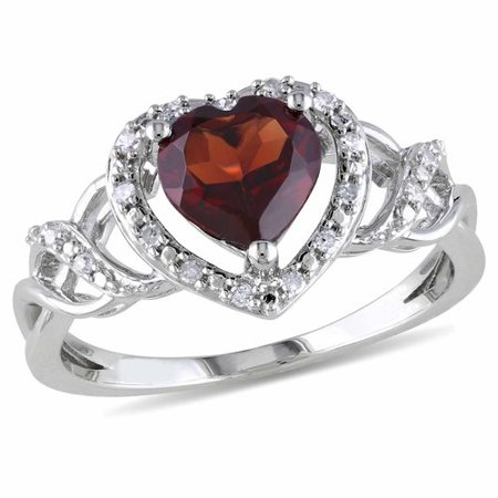 1-3/8 Carat T.G.W. Garnet and Diamond Accent Sterling Silver Heart Ring](January 26 Birthstone)