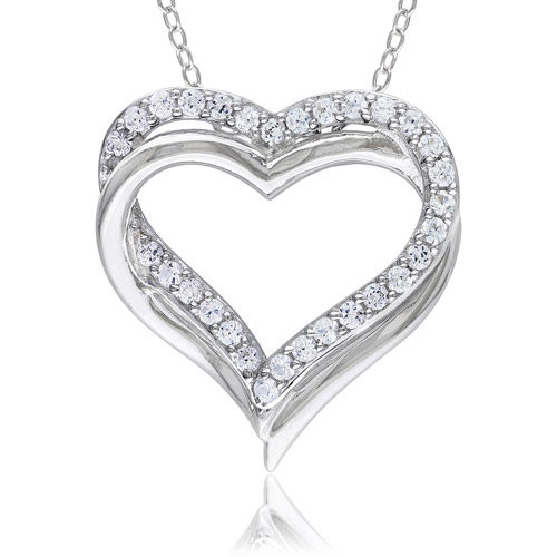 Miabella 5/8 Carat T.G.W. White Sapphire Sterling Silver Interlocking Double-Heart Pendant, 18""