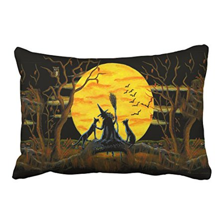WinHome Abstract Vintage Halloween Witch Bats Owl Spider Tree Silhouette Polyester 20 x 30 Inch Rectangle Throw Pillow Covers With Hidden Zipper Home Sofa Cushion Decorative Pillowcases - Owl Silhouette