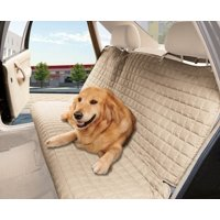 Celinen Quilted Design %100 Waterproof  Bench Car Seat Protector Cover (Entire Rear Seat)  for Pets - TIES TO STOP SLIPPING OFF THE BENCH , Beige