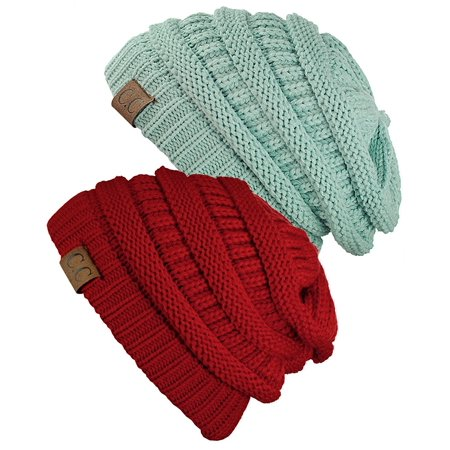 C.C Women's Knit Beanie Cap Hat (2 PACK) ()